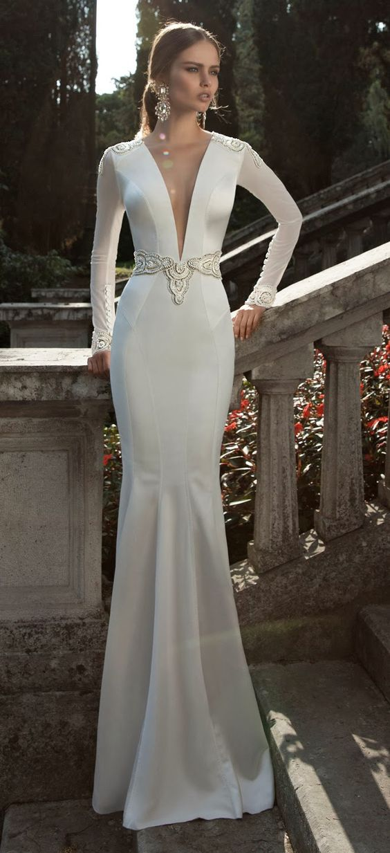 plain plunging neckline wedding gown
