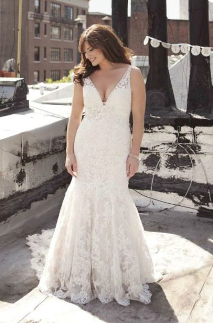 lace V-neckline wedding dress