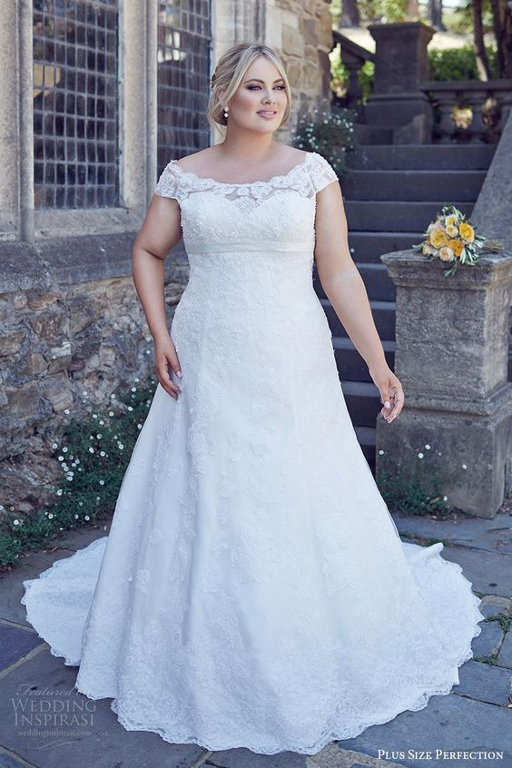 plus-size off-the-shoulder wedding dress