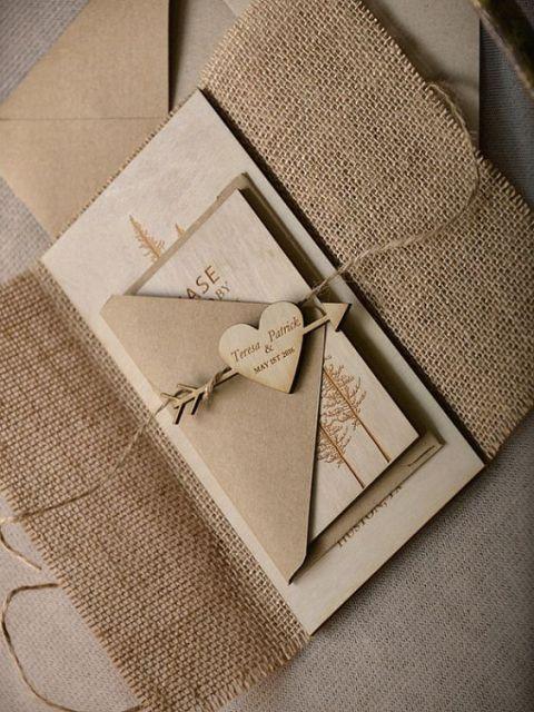cute burlap wedding invitation ideas  weddingomania, invitation samples
