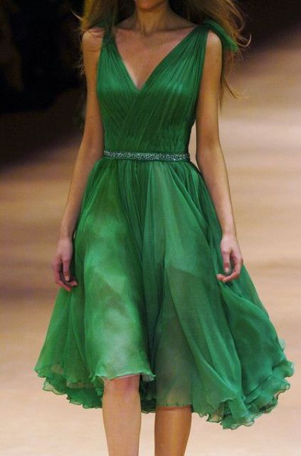 Airy emerald bridesmaid dress