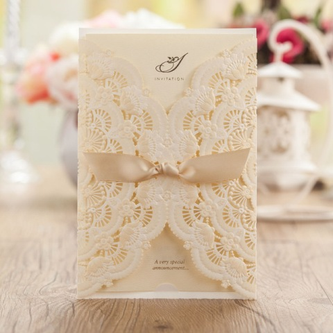 Airy lace wedding invitation