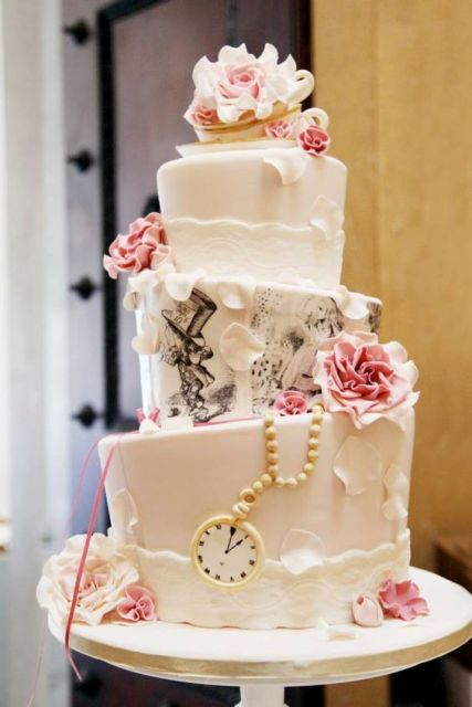 Alice in Wonderland themed wedding topsy turvy cake