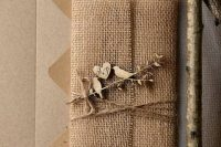 Awesome wedding invitation with burlap and wood decor