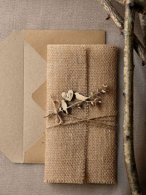 awesome wedding invitation with burlap and wood decor - Burlap Wedding Invitations