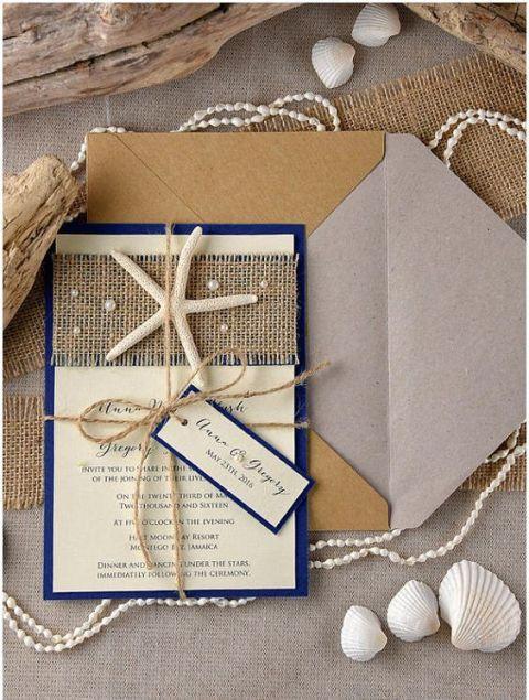 Beach wedding invitation with burlap