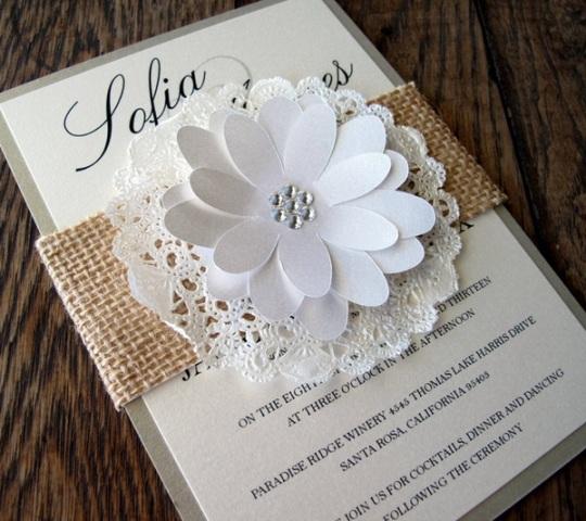 Burlap invitation with big paper flower