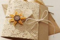 Burlap wedding invitation with faux sunflower