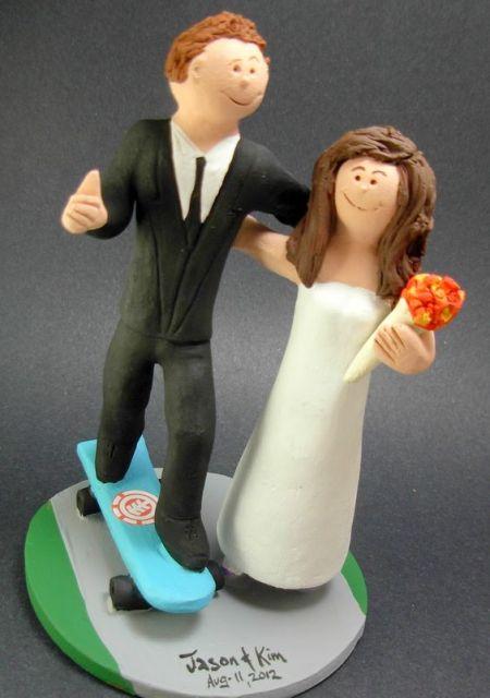 Cake topper for skateboard themed weddings