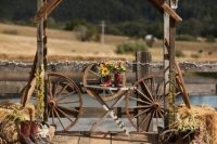 Ceremony decor idea with wagon wheel