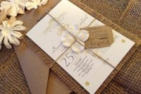 Charming wedding invitation with burlap and flowers