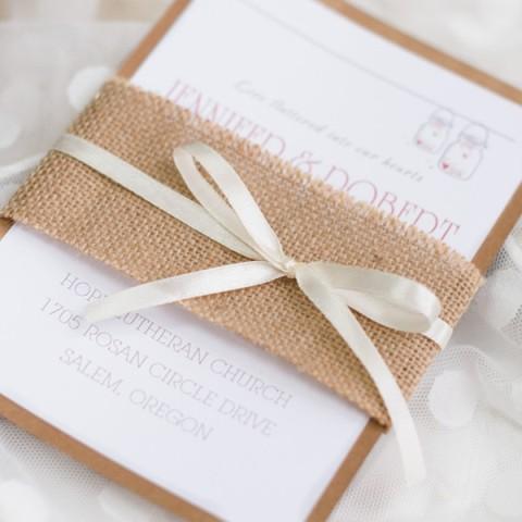 Cheap burlap wedding invitation