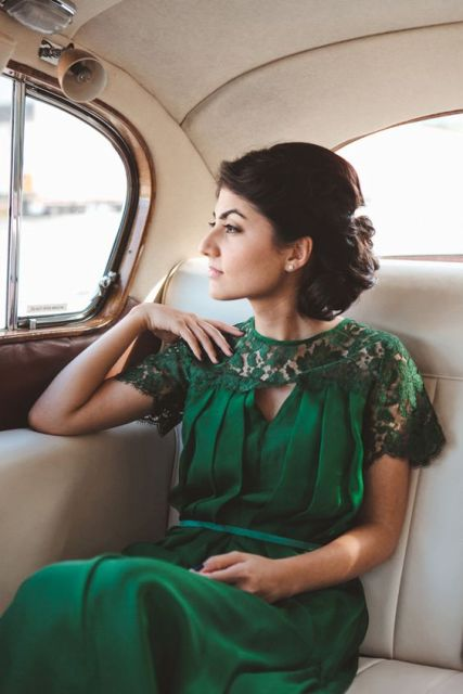 Chic emerald bridesmaid dress with lace sleeves