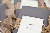 Chic wedding invitations with burlap