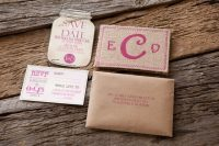 Creative wedding invitation with burlap