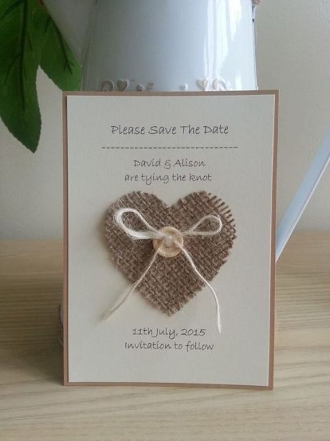 Cute wedding invitation with heart from burlap