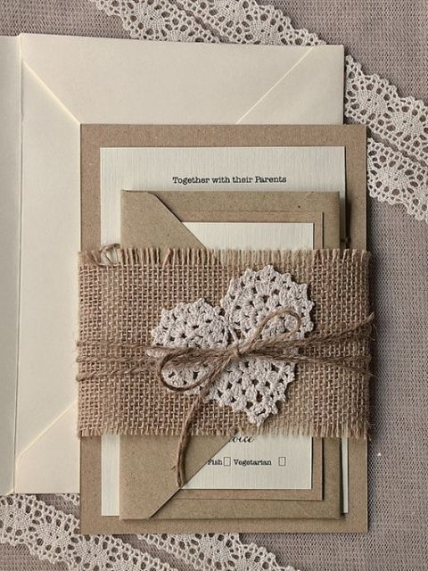 22 cute burlap wedding invitation ideas - weddingomania, Wedding invitations