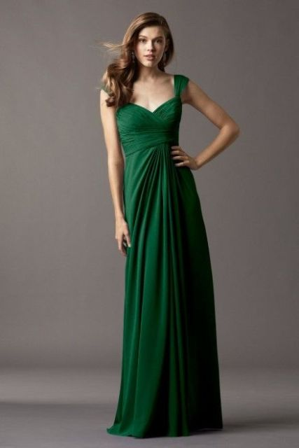 Draped green bridesmaid dress