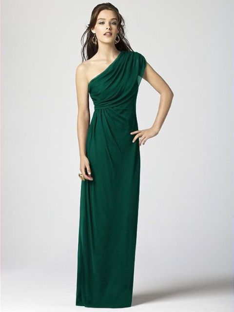 Draped one shoulder emerald bridesmaid dress