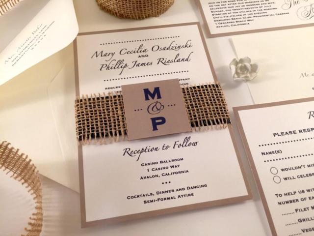 Easy-to-make burlap wedding invitation