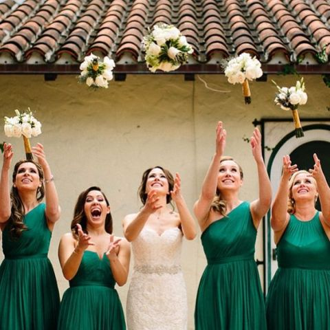 Elegant emerald bridesmaid dresses