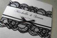 Elegant wedding invitation with black lace
