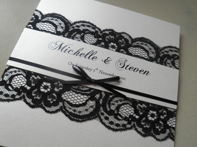 Elegant wedding invitation with black lace
