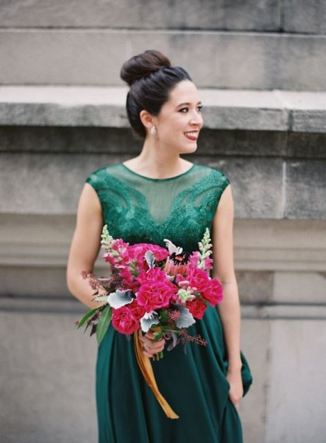 Emerald bridesmaid dress with decor details