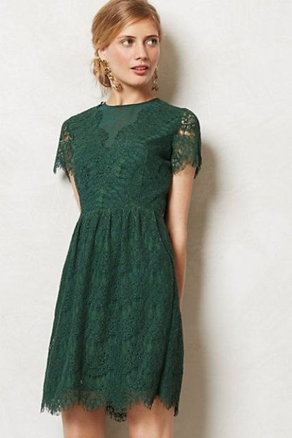 Emerald lace bridesmaid dress