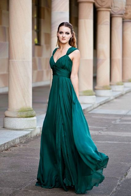 Sea green maxi bridesmaid dress
