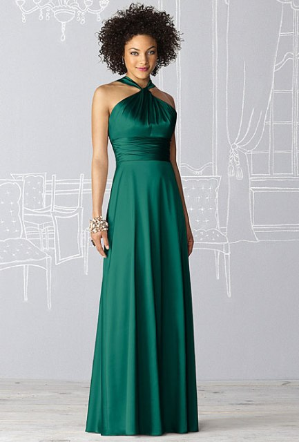 Emerald silk bridesmaid dress