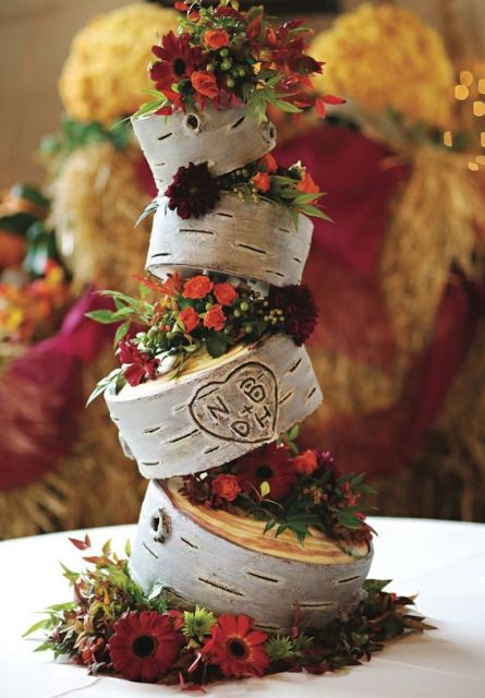 Floral topsy turvy wedding cake