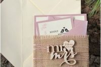 Gentle burlap wedding invitation in pink shades