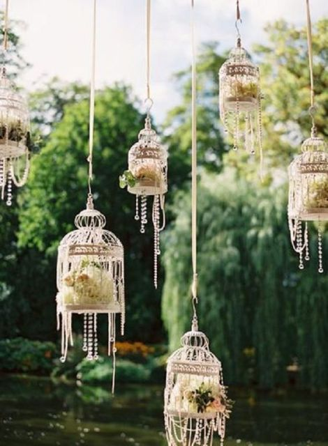 Glamorous Hanging Little Birdcages For An Outdoor Wedding