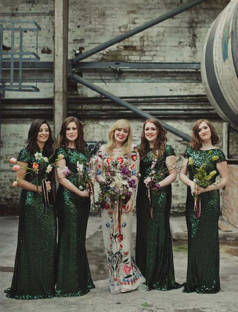 Glitter jungle greel bridesmaid dresses