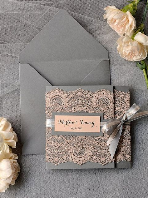 Graceful lace wedding invitation