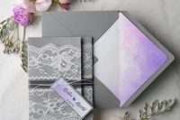 Grey color invitation with lace