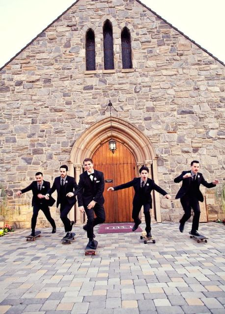 Groom and groomsmen on the skateboards