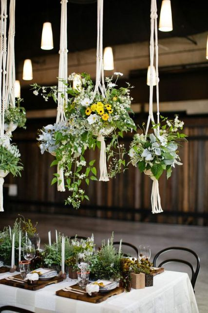 Hanging Macrame knotted wedding decor elements