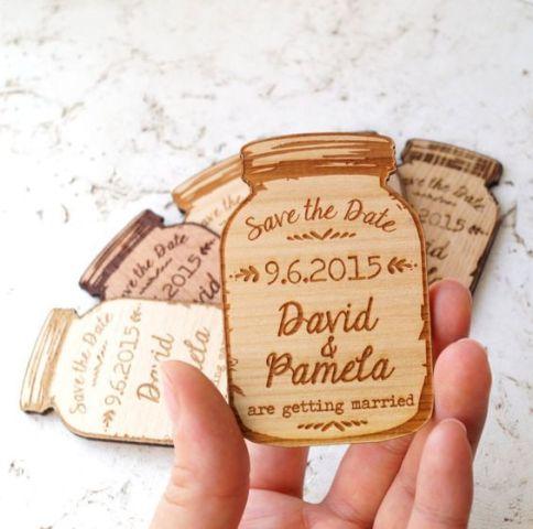 Jar shaped wood invitation