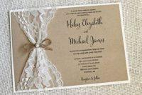 Lace wedding invitation for rustic weddings