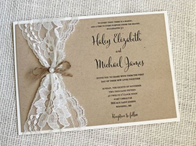 Lace wedding invitation for rustic weddings