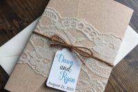 Lace wedding invitation with envelope