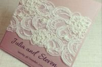Lace wedding invitations with beads