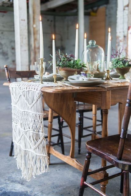 Macrame knotted table runner