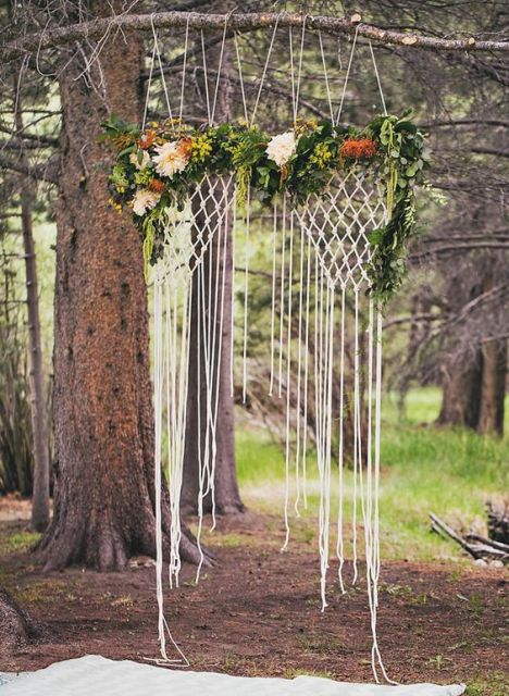 Macrame knotted wedding backdrop