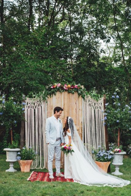 Macrame knotted wedding ceremony backdrop