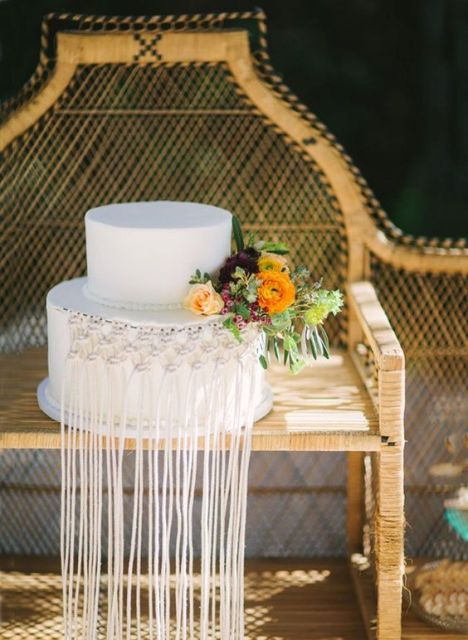 Macrame knotted wedding decor for cake