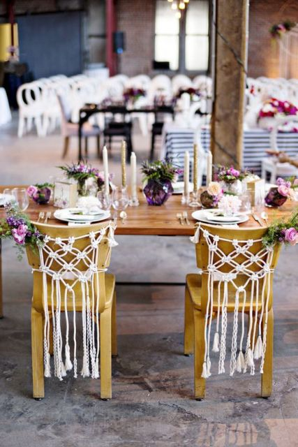 Macrame knotted wedding decor for chair