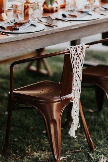 Macrame knotted wedding decor for chairs